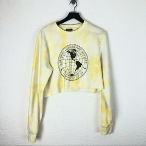 National Geographic Tie Dye Sweater Crop Yellow